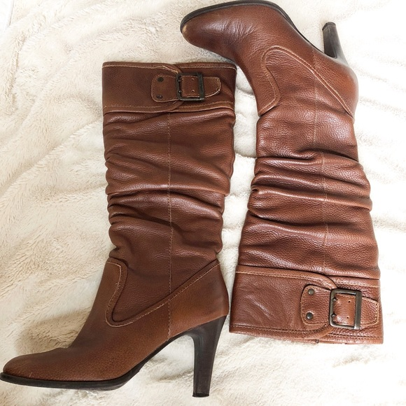 1828e5458c7 DSW Whiskey Brown High Heel Knee High Boots 6M